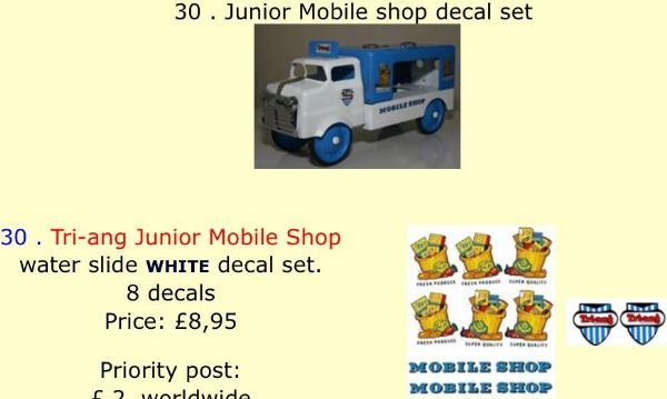 30 . Tri-ang Junior Mobile shop decal set